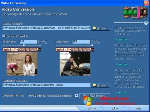 لقطة شاشة Active WebCam لنظام التشغيل Windows 10