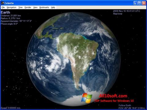 لقطة شاشة Celestia لنظام التشغيل Windows 10