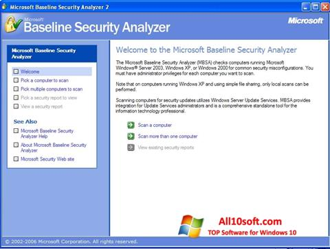 لقطة شاشة Microsoft Baseline Security Analyzer لنظام التشغيل Windows 10