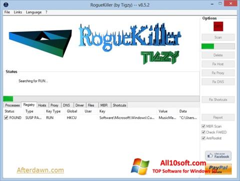 لقطة شاشة RogueKiller لنظام التشغيل Windows 10