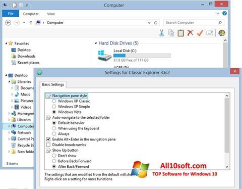 لقطة شاشة Classic Shell لنظام التشغيل Windows 10
