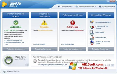 لقطة شاشة TuneUp Utilities لنظام التشغيل Windows 10