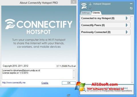 لقطة شاشة Connectify لنظام التشغيل Windows 10