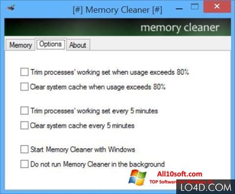 لقطة شاشة Memory Cleaner لنظام التشغيل Windows 10