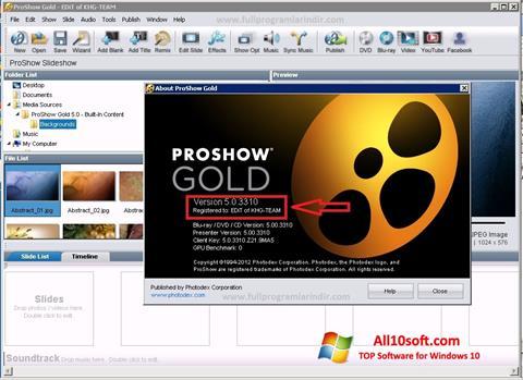 لقطة شاشة ProShow Gold لنظام التشغيل Windows 10