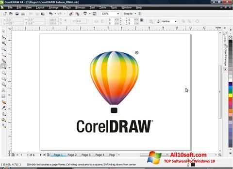 لقطة شاشة CorelDRAW لنظام التشغيل Windows 10