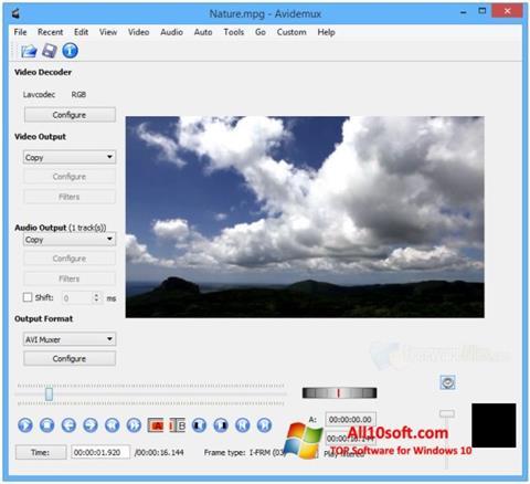 لقطة شاشة Avidemux لنظام التشغيل Windows 10
