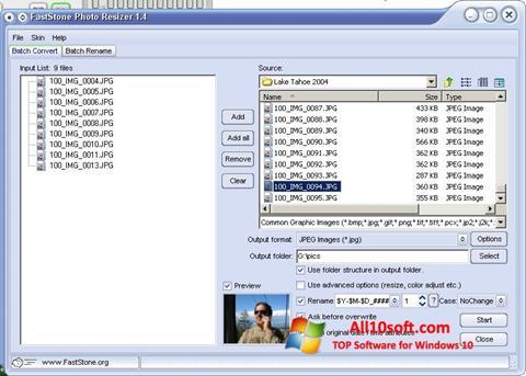 لقطة شاشة FastStone Photo Resizer لنظام التشغيل Windows 10