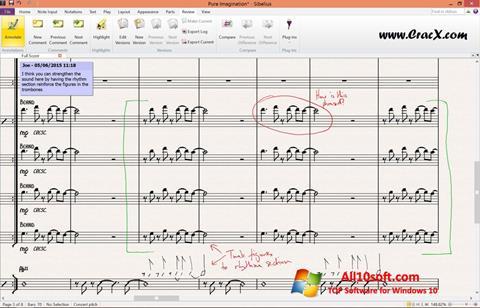 لقطة شاشة Sibelius لنظام التشغيل Windows 10