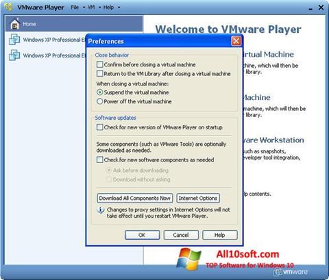 لقطة شاشة VMware Player لنظام التشغيل Windows 10
