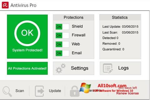 لقطة شاشة Avira Antivirus Pro لنظام التشغيل Windows 10