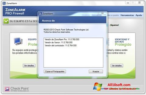 لقطة شاشة ZoneAlarm لنظام التشغيل Windows 10