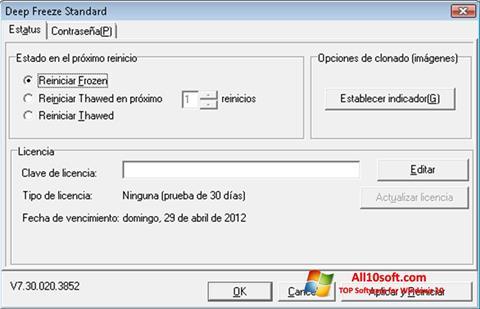 لقطة شاشة Deep Freeze لنظام التشغيل Windows 10