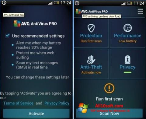 لقطة شاشة AVG AntiVirus Pro لنظام التشغيل Windows 10