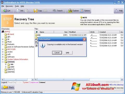 لقطة شاشة GetDataBack لنظام التشغيل Windows 10