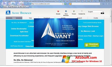 لقطة شاشة Avant Browser لنظام التشغيل Windows 10