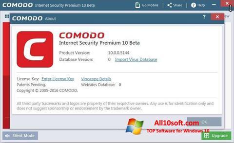 لقطة شاشة Comodo لنظام التشغيل Windows 10