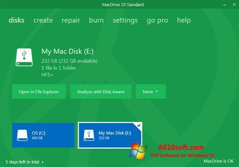 لقطة شاشة MacDrive لنظام التشغيل Windows 10