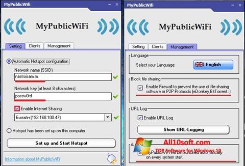 لقطة شاشة MyPublicWiFi لنظام التشغيل Windows 10