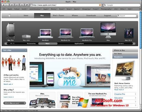 لقطة شاشة Safari لنظام التشغيل Windows 10