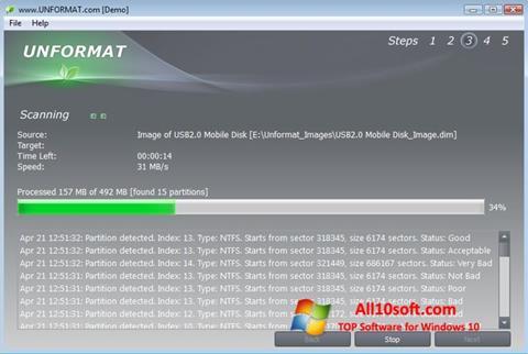 لقطة شاشة UNFORMAT لنظام التشغيل Windows 10