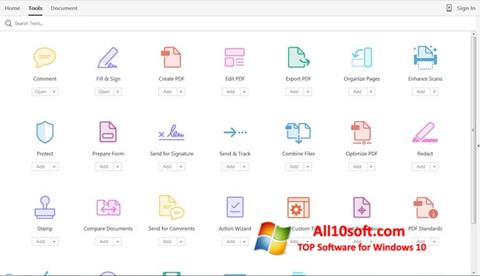 لقطة شاشة Adobe Acrobat Pro لنظام التشغيل Windows 10
