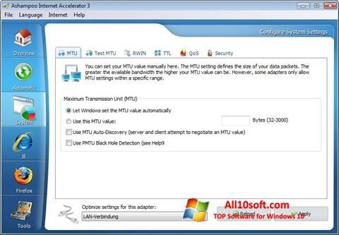 لقطة شاشة Ashampoo Internet Accelerator لنظام التشغيل Windows 10