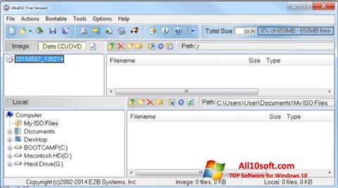 لقطة شاشة UltraISO لنظام التشغيل Windows 10