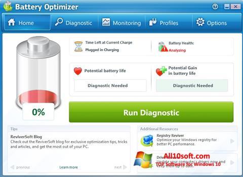لقطة شاشة Battery Optimizer لنظام التشغيل Windows 10