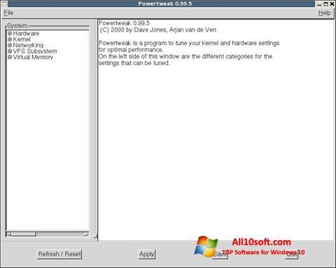 لقطة شاشة PowerTweak لنظام التشغيل Windows 10