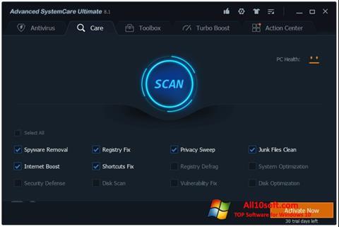 لقطة شاشة Advanced SystemCare لنظام التشغيل Windows 10