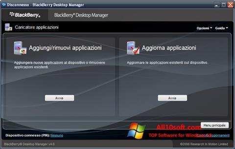 لقطة شاشة BlackBerry Desktop Manager لنظام التشغيل Windows 10