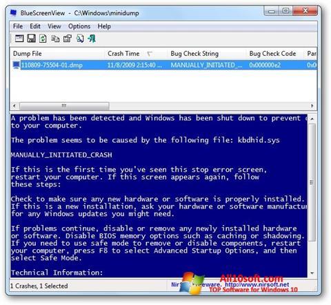 لقطة شاشة BlueScreenView لنظام التشغيل Windows 10
