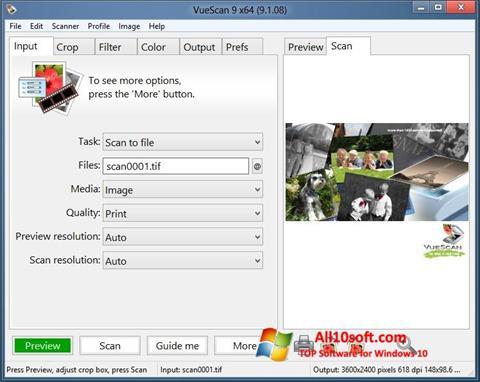 لقطة شاشة VueScan لنظام التشغيل Windows 10