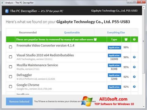 لقطة شاشة PC Decrapifier لنظام التشغيل Windows 10