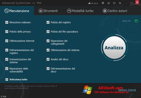 لقطة شاشة Advanced SystemCare Pro لنظام التشغيل Windows 10