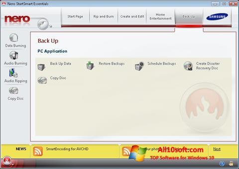 لقطة شاشة Nero لنظام التشغيل Windows 10