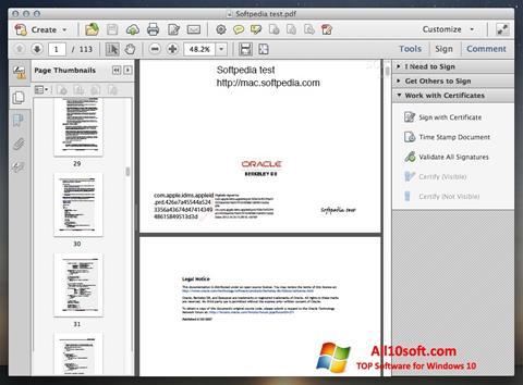 لقطة شاشة Adobe Acrobat لنظام التشغيل Windows 10