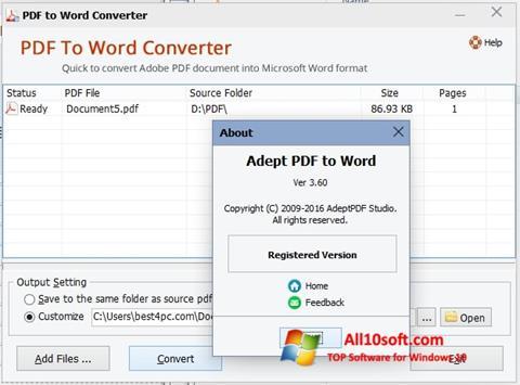 لقطة شاشة PDF to Word Converter لنظام التشغيل Windows 10