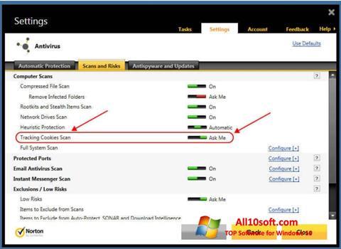 لقطة شاشة Norton لنظام التشغيل Windows 10