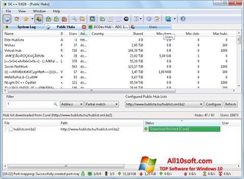 لقطة شاشة DC++ لنظام التشغيل Windows 10