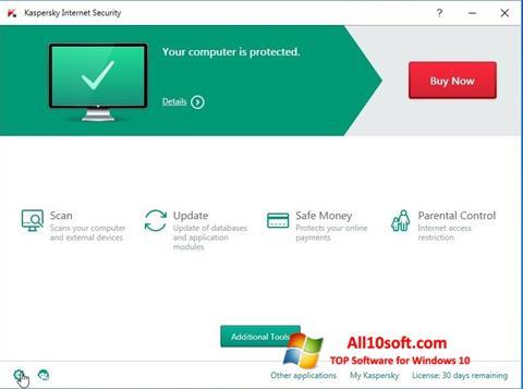 لقطة شاشة Kaspersky Internet Security لنظام التشغيل Windows 10