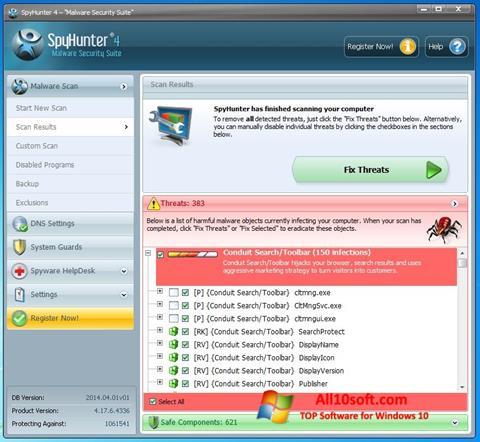 لقطة شاشة SpyHunter لنظام التشغيل Windows 10