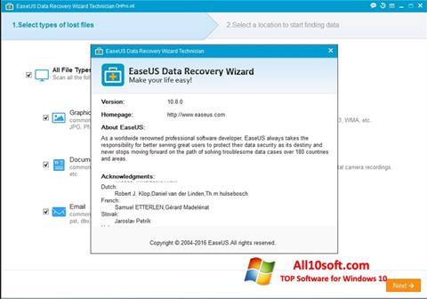 لقطة شاشة EaseUS Data Recovery Wizard لنظام التشغيل Windows 10
