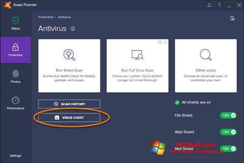 لقطة شاشة Avast لنظام التشغيل Windows 10