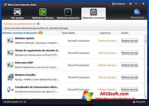 لقطة شاشة Wise Game Booster لنظام التشغيل Windows 10