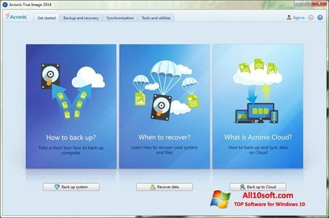 لقطة شاشة Acronis True Image لنظام التشغيل Windows 10