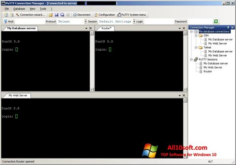 لقطة شاشة PuTTY Connection Manager لنظام التشغيل Windows 10