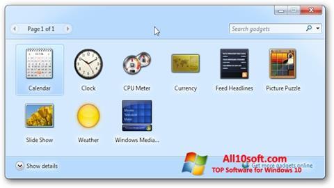 لقطة شاشة 8GadgetPack لنظام التشغيل Windows 10