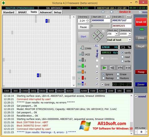 لقطة شاشة Victoria لنظام التشغيل Windows 10
